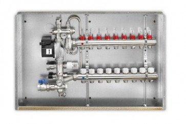 Gruppo di miscelazione in ottone a punto fisso per bassa temperatura con collettore a 3 uscite