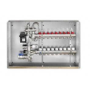 Gruppo di miscelazione in ottone a punto fisso per bassa temperatura con collettore a 12 uscite