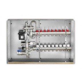 Gruppo di miscelazione in ottone a punto fisso per bassa temperatura con collettore a 8 uscite