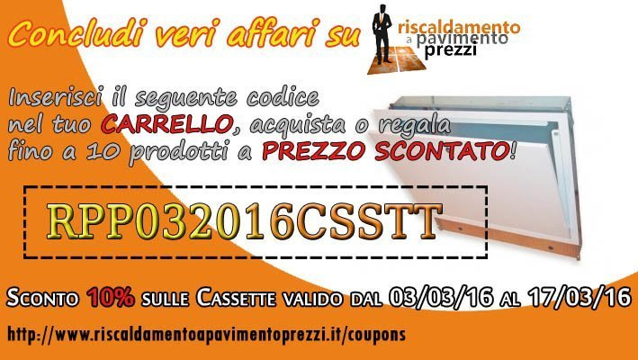 COUPON SCONTO CASSETTE