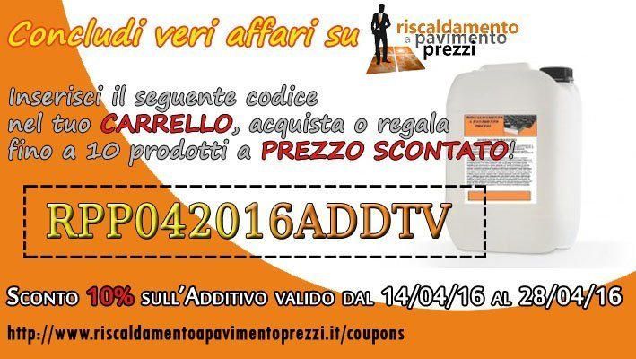 COUPON SCONTO SULL'ADDITIVO PER MASSETTO