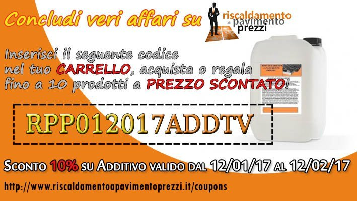 COUPON SCONTO SULL'ADDITIVO
